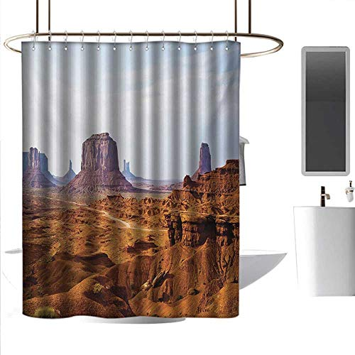 - homehot Shower Curtains Liner with Suction Cups Desert,Monument Valley View from John Fords Point Merritt Butte Sandstone Image,Baby Blue Mauve Amber,W55 x L84,Shower Curtain for clawfoot tub