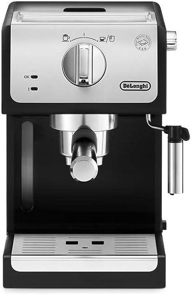 Delonghi ECP 33.21- Cafetera de Bomba Tradicional para Espresso y Cappuccino, para Café Molido y Monodosis, 2 Tazas Simultáneamente, Depósito de Agua de 1.1 l, 1100 W, Negro y Plata: Amazon.es: Hogar