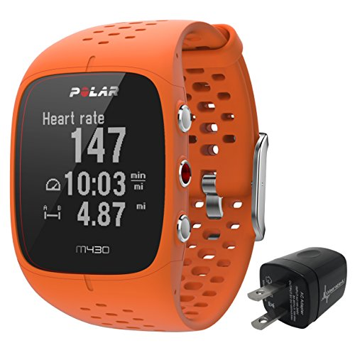 Polar M430 Advanced Running GPS Watch with Wrist based Heart Rate Monitor and Wearable4U Wall Charging Adapter Bundle