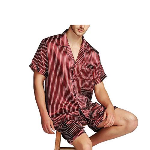 Mens Silk Satin Pajamas Pajama Pyjamas Set Sleepwear Set Loungewear,Wine Striped,XL