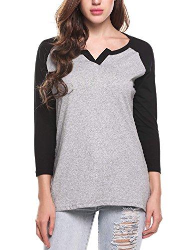ELESOL Women's V Neck Raglan Sleeve 3/4 T-Shirt Tunics Tops Black1 ()