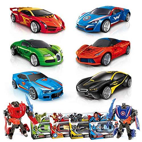 hyhellokull Transformation Toy Car Model Robot Toy,Captain America Iron Man Batman Superman Hulk Spiderman [KO Version] Car Robot Model Toy for Kids Boys Girls]()