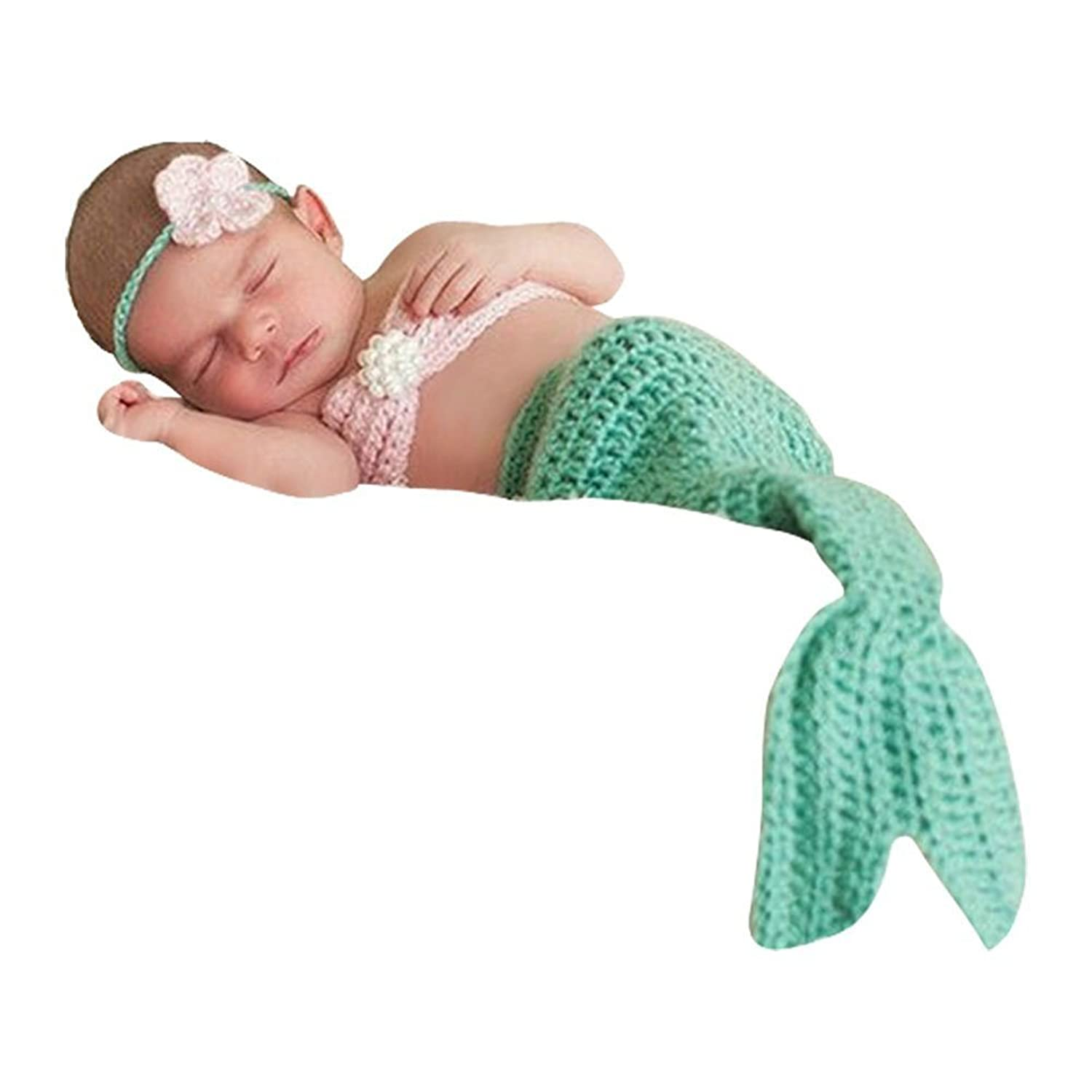 CX-Queen Baby Photography Prop Crochet Knit Hairband Bra Tail Green Mermaid