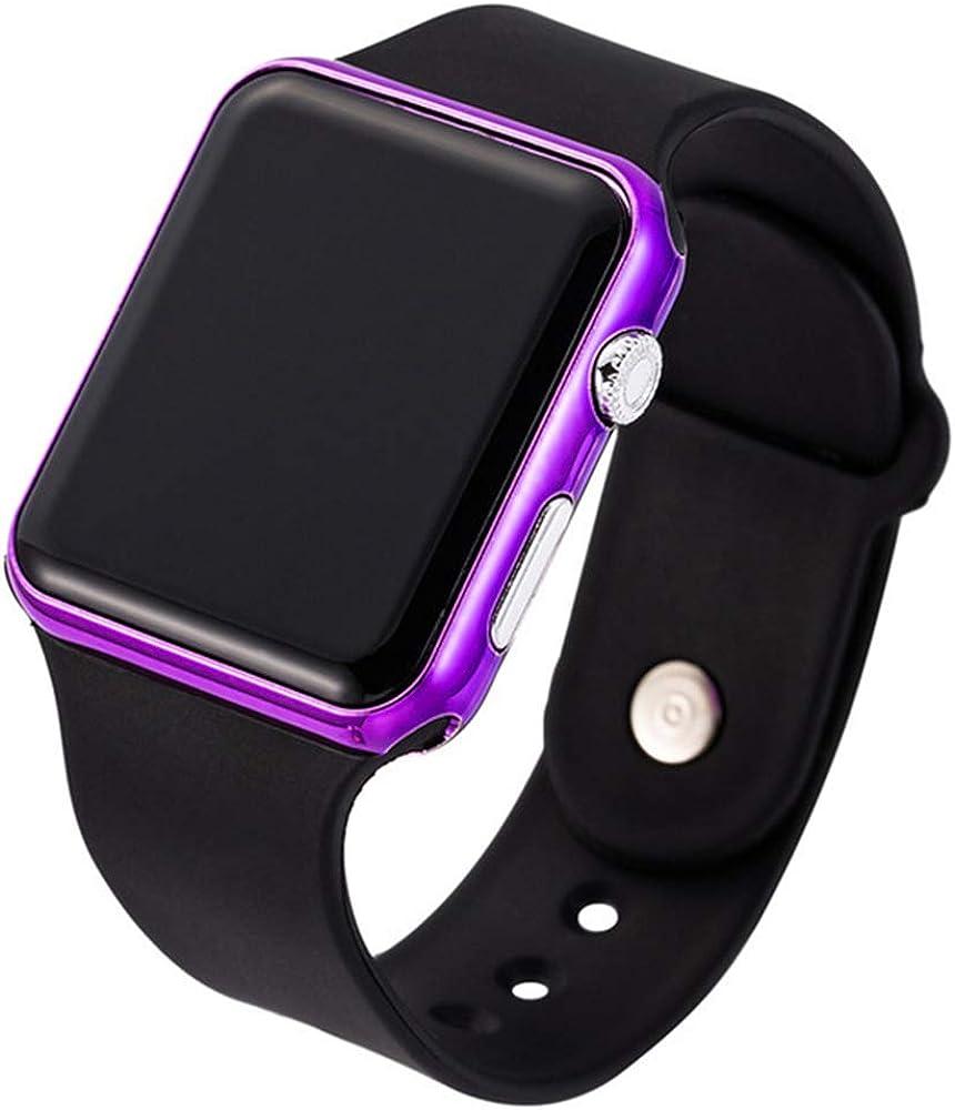 RRWL Reloj LED Deportivo y de Ocio para Mujer Reloj Digital Unisex Reloj de Pulsera de Silicona para Parejas Regalosnavideños Negro Púrpura