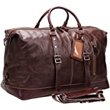 Iblue Leather Travel Bag Weekend Duffle Bag For Men Carry On C001 (XL, dark brown 02)