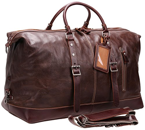 Iblue Genuine Leather Weekender Overnight Bag Travel Luggage Gym Totes #B001 (XL, silver metals) by iblue