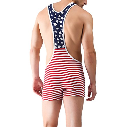 QiaTi Mens Athletic Supporters Sports Underwear Bodysuit Jumpsuit Wrestling Singlet Boxers (Classic Style, X-Large (fits Like US Large))