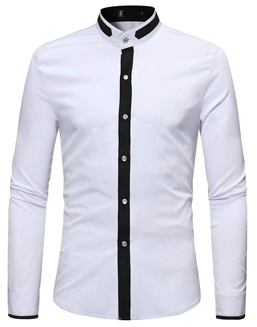 Hajotrawa Mens Contrast Color Classic Stand Collar Long Sleeve Button Down Shirts