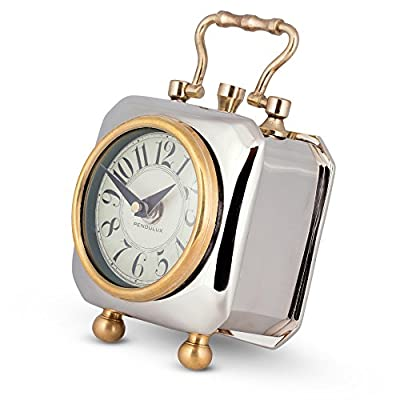 "Pendulux, Table Clock, 6"" H x 4"" W x 4"" D, 2.05 lbs - Tyler - ENGLISH CHARM - The Pendulux Tyler Table Clock provides English charm to your home or office with its heavy nickel plated case and cast brass fittings. AUTHENTIC AND ELEGANT - The design was derived from an original found in a 1910 London luxury hotel, this solid clock tilts back for viewing, revealing its authentically elegant dial. HIGHLY DURABLE - The Pendulux Tyler Table Clock is composed of high-quality materials - nickel plated case, cast brass. Great value for money as it will last for longer period of use. - clocks, bedroom-decor, bedroom - 51OjDG2VeSL. SS400  -"