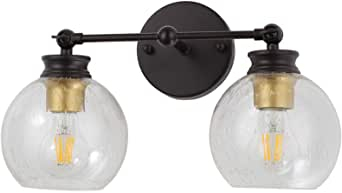 Liylan 2 Light Bathroom Vanity Lighting Fixtures Vintage Farmhouse Wall Sconces Oil Rubbed Bronze With Seeded Clear Glass
