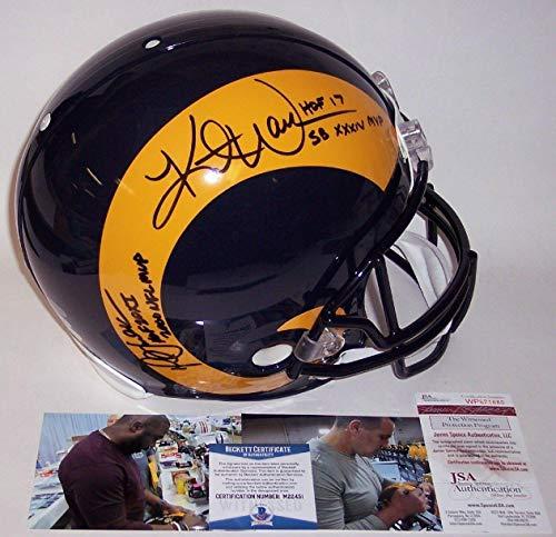 Kurt Warner & Marshall Faulk Autographed Hand Signed Rams Throwback Full Size Authentic Pro Helmet - BAS Beckett Authentication - Beckett ()
