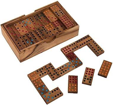 Domino, Doble 9, Domino Parte para 2 hasta 6 Personas, con Colores auisgelegten Puntos de Colores, de Madera, Familia Parte: Amazon.es: Juguetes y juegos
