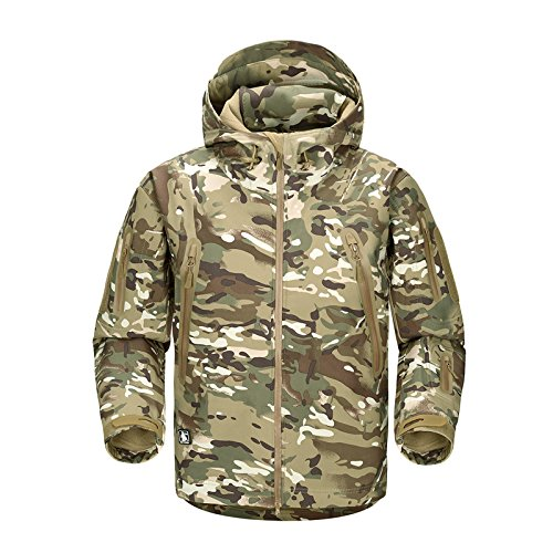 FREE SOLDIER Men Outdoor Tactical Softshell Jacket Waterproof Army Military Hooded jacket (CP camouflage L)