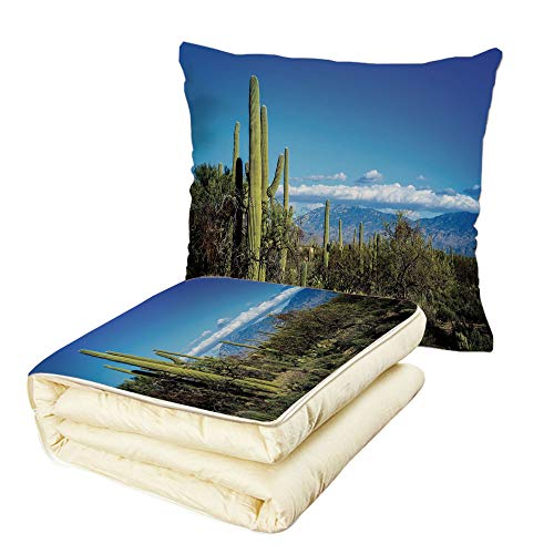 - iPrint Quilt Dual-Use Pillow Desert Wide View of The Tucson Countryside with Cacti Rural Wild Landscape Arizona Phoenix Multifunctional Air-Conditioning Quilt Green Blue