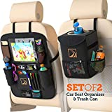Confachi Backseat Organizer and Car Trash Can Bundle of Car Garbage Can with Lid and Car Seat Organizer for Kids with Ipad Holder and Cup Holder and Extra Car Storage Pockets ( Black)