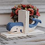 LPY-Set of 2 Bookends Wood Dolphin Style Crafts, Book Ends for Office or Study Room Home Shelf Decorative