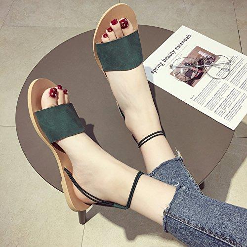Roman Word verde toed con 35 open semplice ITTXTTI sandali estivi donna New casual scarpe Wild Flat vq7w0fqU