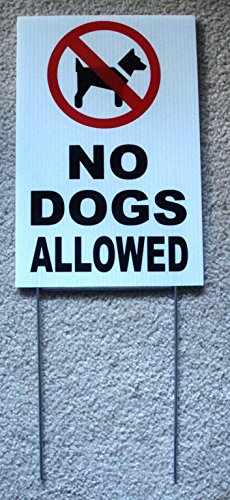 1 Pc Brilliant Unique No Dogs Allowed Sign Outdoor Declare Yard Decal Warning Message Pets Waste On Lawn Area Property Notice Beach Garden Playground Poster Animal Pick Up Size 8' x 12' with Stake