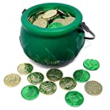 JOYIN 208 St Patrick's Day Lucky Leprechaun Plastic Coins and 1 Large Green Cauldron with Handle Saint Patricks Pot of Gold Party Supplies