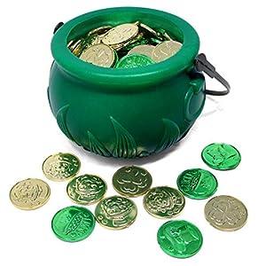 joyin 208 st patricks day lucky leprechaun plastic coins and 1 large green cauldron with handle saint patricks pot of gold party supplies