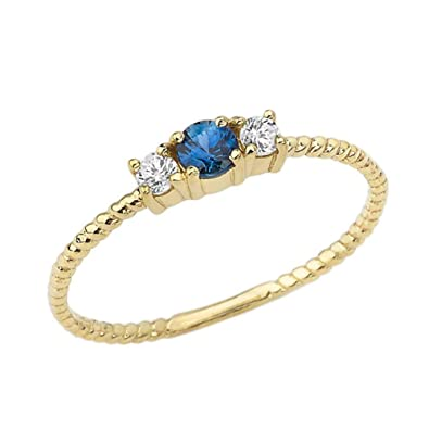 Sapphire Ring Dainty Sapphire Gift For Her Women Ring Dainty Rope Ring Genuine Sapphire Dainty Ring Yellow Gold Ring Yellow Gold