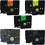 NEOUZA 5PK Compatible for Brother P-Touch Laminated Tze Tz B31 C31 D31 334 335Label Tape Cartridge 12mm 1/2' (Set Black on 3 Fluo Colors and 2 Colors on Black)