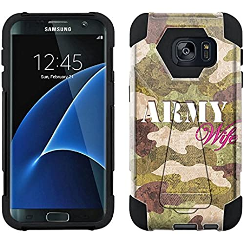 Samsung Galaxy S7 Edge Hybrid Case Green Camouflage Army Wife 2 Piece Style Silicone Case Cover with Stand for Sales