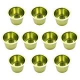 Lot of 10 Aluminum Jumbo Poker Table Cup Holder in Green by YH Poker