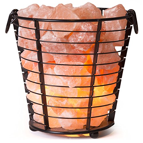 Crystal Allies Natural Himalayan Salt Wire Mesh Basket Vase Lamp