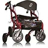 Airgo Fusion Standard Height Side-Folding Rollator Walker & Transport Chair Pacific Blue Colour (Cranberry)