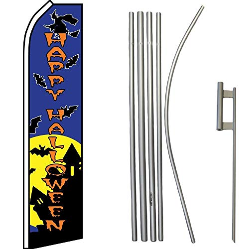 ALBATROS Happy Halloween Blue Swooper Flag with 16ft Flagpole Kit/Ground Spike for Home and Parades, Official Party, All Weather Indoors Outdoors -