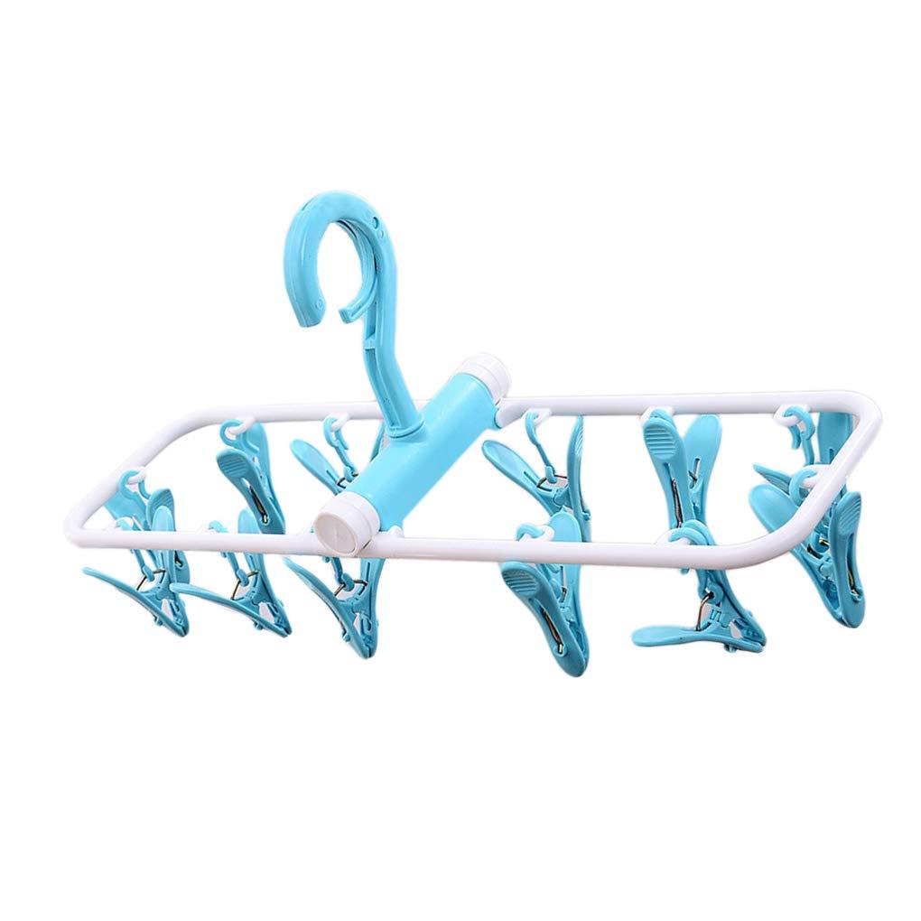 traline La Ropa de pl/ástico Estante Plegable con 12 Clips port/átiles a Prueba de Viento Ni/ños Perchas Herramienta al Aire Libre de Secado Inicio
