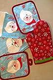 Christmas Kitchen Towel Set 7 Piece- Kitchen Towels, Pot Holders, Oven Mitt & Dishcloth - 7-Piece Santa Kitchen Set
