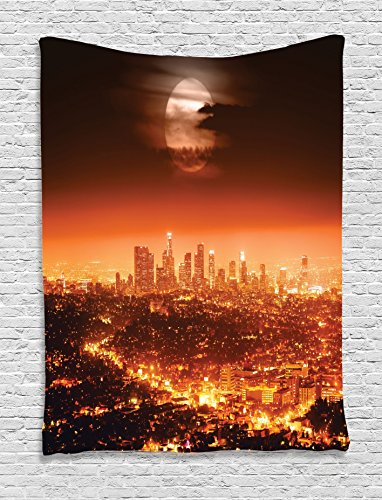 [Ambesonne Apartment Decor Collection, Dramatic Full Moon over Los Angeles Horizontal Smoke Scary Moonrise View, Bedroom Living Room Dorm Wall Hanging Tapestry, Orange] (Scary Mime)