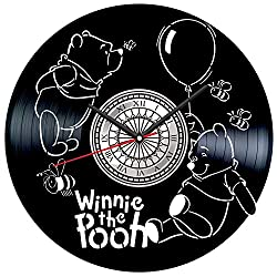 Winnie The Pooh Vinyl Record Wall Clock Poster - Vintage Home Decor Kitchen Bedroom Living Room Kids Room - Unique Handmade Gift for Kids Friends Boys Girls - 12 inches
