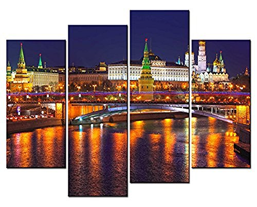 Forever With Me® - City Landscape Paintings Wall Art Moscow Russia Kremlin City Night Mirror River 4 Panel Picture Print on Canvas for Modern Home (Halloween Movie Piano Sheet Music)