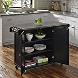 Liberty Black Kitchen Cart with Stainless Steel Top