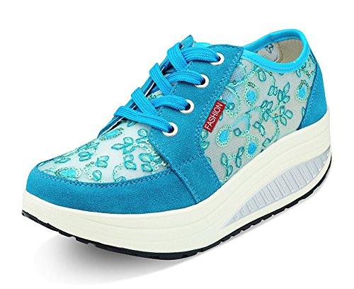 Fitnessschuhe Blau Freizeitschuhe Abnehmen Shape Walkingschuhe Sommer Sportschuhe Plateau Sneakers CCZZ up Schnürer Spitze Keilabsatz Damen wqY68Sxv