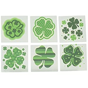 Fun Express – Shamrock Patterned Tattoos for St. Patrick's Day – Apparel Accessories – Temporary Tattoos – Regular…