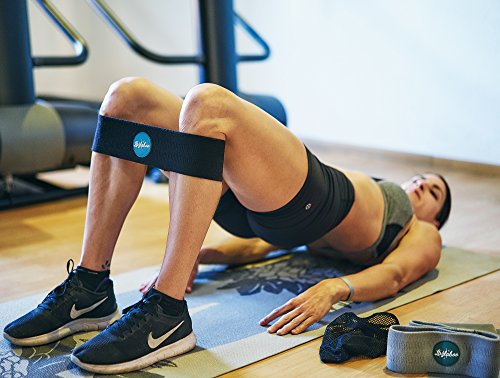 8fefb78757a1 Exercise Resistance Booty Band Set for Men and Women | Glute Activation for  Legs and Butt | Set of 2 Fabric Grippy Hip Bands and Bonus Latex Band | ...