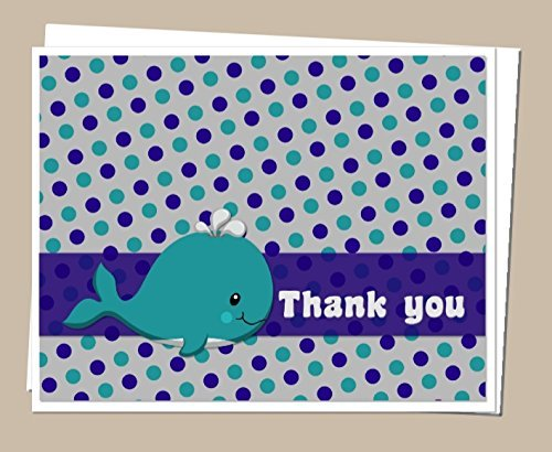 Whale Thank You Cards and Envelops (Set of 12) - Baby Shower or Birthday Party - Teal and Navy