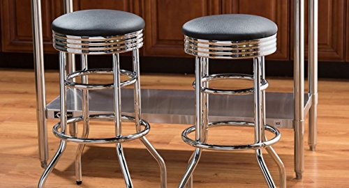 Silver Bar Stool Chair Set of 2 Black Chrome Swivel Metal Armless Foot Rest Ring Single (Single Foot Ring Swivel Stool)