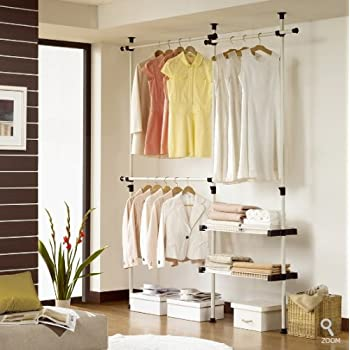 Double 2 Tier Hanger U0026 Shelves | Clothing Rack | Closet Organizer