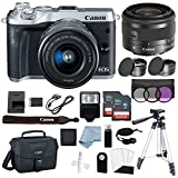 Cheap Canon EOS M6 Digital Camera (Silver) with EF-M 15–45mm f/3.5–6.3 is STM Lens + Deluxe Accessory Bundle – Includes Everything You Need to Get Started