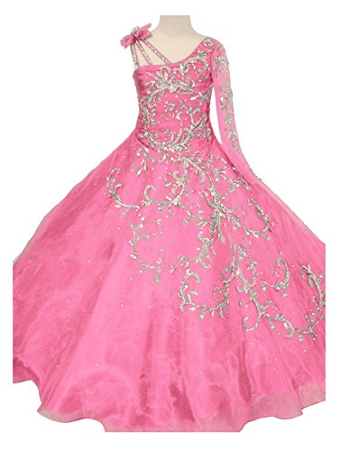 GreenBloom Little Girls' Bowknot One-Shoulder Long Sleeves Beaded Sequins Embroidery Pageant Ball Gown Evening Dress Pink -