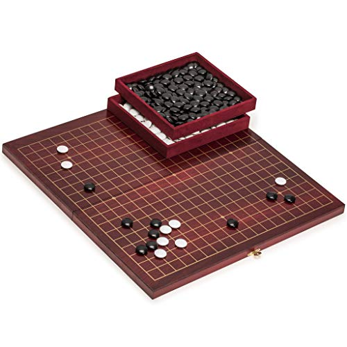 (Yellow Mountain Imports Go Game Set with Rosewood Go Board in Dark Cherry Pattern and Melamine Go Stones)