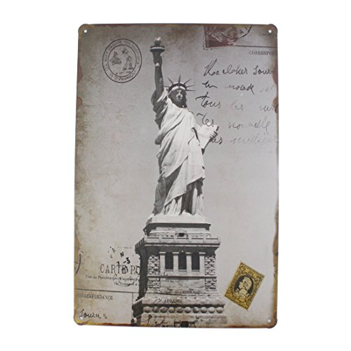 Plaque Pub (12x8 Inches Pub,bar,home Wall Decor Souvenir Hanging Metal Tin Sign Plate Plaque (The Statue of Liberty Stamp))