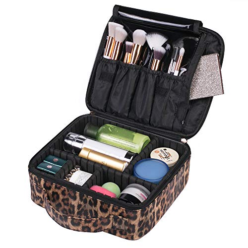 OXYTRA Makeup Bag Leopard Print PU Leather Travel Cosmetic Bag for Women Girls - Cute Large Makeup Case Cosmetic Train Case Organizer with Adjustable Dividers for Cosmetics Make Up Tools (Leopard Cosmetic)