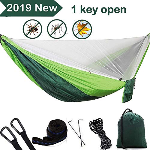 Camping Hammock with Mosquito Net Double Single Hammocks with Trees Straps 118x78 inch Hold up 1200 lbs Lightweight Hammock Indoor Outdoor Hiking Travel Backpacking 1 User Manual 2 Steel Carabiners