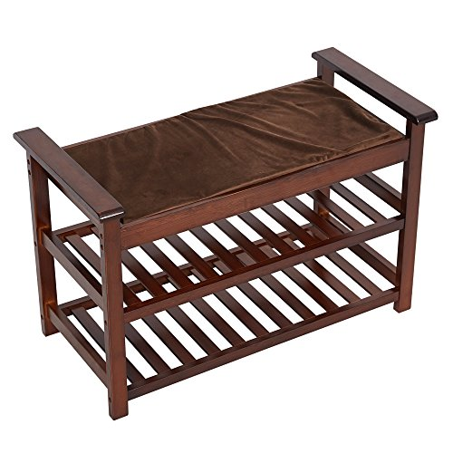 Lucky Tree Espresso Upholstered Bench with Padded Seat 2 Tiers Bamboo Storage Rack Standing Shoe organizer Shelf with Cushion for Entryway Bedroom Mud Room by Lucky tree